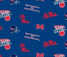 College University of Mississippi Ole Miss Rebels Print Fleece Fabric ms035s