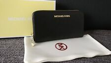 MICHAEL KORS WALLET PURSE LONG JET SET TRAVEL CONTINENTAL BLACK SAFFIANO