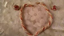 AVON Twisted Faux Coral (Pink/Peach)  Pearl Necklace and  Button Clip Earrings