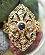 VINTAGE 14K GOLD FILIGREE PIERCED DIAMOND & SAPPHIRE COCKTAIL RING~6.5 GRAMS!