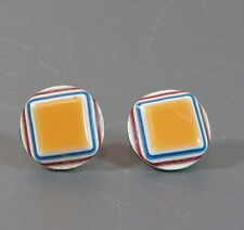 "Vintage Lea Stein round pierced earrings with layers Geometric shape 5/8"" inches"