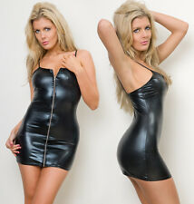 Black Zip Clubwear, PVC wet look Mini dress Size XL 14/16.