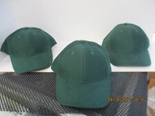 LOT OF 3-SOLID DARK GREEN CAPS/HATS-6 PANEL-BLANK-OSFM-BY MOHR'S-[A110