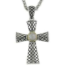 Andrea Candela 18k Gold Sterling Diamond Vintage Cable Cross Necklace ACP199/04