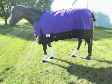 Horse Turnout Sheet / Waterproof / Rip-stop / Purple and Black 78""