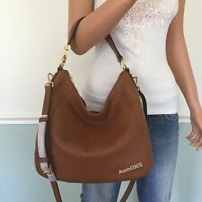 NEW! MICHAEL KORS Fulton Leather Large Shoulder Crossbody Bag Hobo Purse Brown