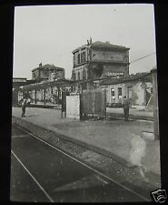 Glass Magic lantern slide ARMENTIERS RAILWAY STATION  CIRCA WW1 FRANCE