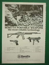 1/1983 PUB BERETTA BRESCIA PORTABLE WEAPONS MACHINE GUN PISTOL ARMY ORIGINAL AD