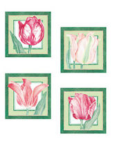 Floral Red Pink Botanical Tulips 25 Flowers Wallies Flower Stickers Decal Border