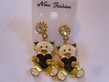 Ohrringe weißer Teddybär schwarzes Herz aus Email mit klarem Strassstein  2259