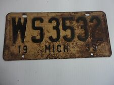 1939 ORIGINAL MICHIGAN STATE LICENSE PLATE WS-3532 VINTAGE FORD CHEVY OLDS DODGE