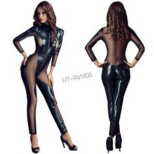 New Black PVC Leather Bodysuit Jumpsuit Mesh Lingerie Women Long Sleeve Cat Suit