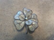 Silver Tone and Shell Flower Brooch