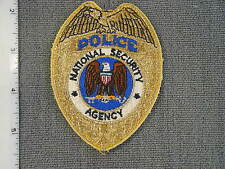 Obsolete National Security Agency Police, gold thread cloth badge, from NS Meyer
