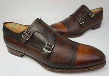 Magnanni Valda Double Monk Strap Brown Cognac Leather Loafers Shoe Size 11.5