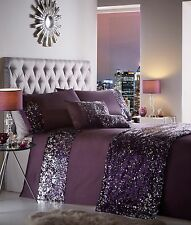 DOUBLE BED DUVET COVER SET DAZZLE AUBERGINE PURPLE SEQUIN DETAILING BLING