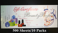 (500pcs) Gift Certificates Professional Nail Beauty Salon 50 Sheets/10 Booklets