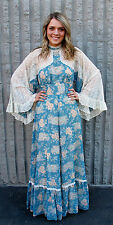 GUNNE SAX BY JESSICA BLUE PEACH BLOSSOM COUNTRY SCENE BOHO HIPPIE MAXI DRESS -M