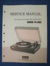 SANSUI FR-1080 TURNTABLE SERVICE MANUAL ORIGINAL FACTORY ISSUE