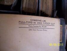 JD JOHN DEERE 25 COMBINE PARTS BOOK