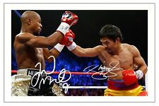 FLOYD MAYWEATHER JR & MANNY PACQUIAO BOXING SIGNED AUTOGRAPH PHOTO PRINT