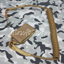 Airsoft SWAT Tactical Gear Pistol Elastic Spring Lanyard Sling Coyote Brown