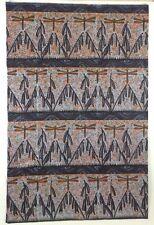 VINTAGE 1970s BATIK KENYAN KANGA SARONG CLOTH Batik Dragonfly Black Brown Orange