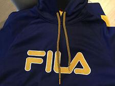 Fila Men's Checker Pullover Navy Yellow Gold Hooded Media Pocket Sz L Sweatshirt