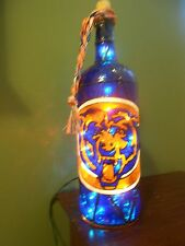 Chicago Bears Inspiered Hand Painted Lighted Wine Bottle StainedGlass look