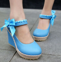Fashion Cute Womens Wedges Heels Platform Round Toe Loafers Dress Shoes Size New