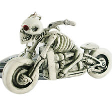 "3D SKELETON MOTORCYCLE 3"" x 1 3/4"" Hard RUBBER Key Ring (9703)"