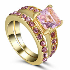 Size8 Wedding Engagement Ring Set Pink Topaz Gemstone Propose Bridal Gold Plated