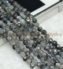 "Faceted 4mm Natural India Labradorite Gems Round Loose Beads 15"" Strand"