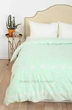 Queen Doona Quilt Cover Duvet Shabby Mint Green Cottage Chic Eyelet Lace New