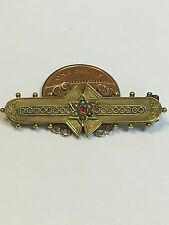 Lovely Victorian 9 Carat Gold RUBY & SEED PEARL Sweetheart Brooch 1890