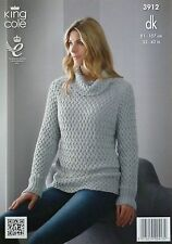 KNITTING PATTERN Ladies Long Sleeve Basket Weave Jumper Cotton DK King Cole 3912