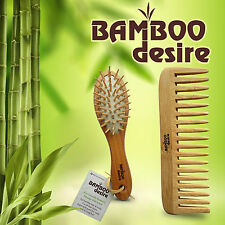 Natural High Quality Bamboo Wood Mini Pocket Hair Brush Detangling Comb Set