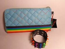 NEW Body Rage Blue Rainbow Wallet w Rubber Spike Bracelet on Chain USA SELLER