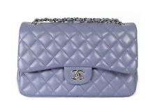 CHANEL Lilac Purple Quilted Lambskin Jumbo Classic Double Flap Bag