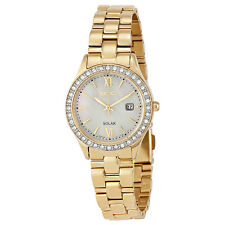 Seiko Solar Mother Of Gold-Tone Stainless Steel Ladies Watch SUT076