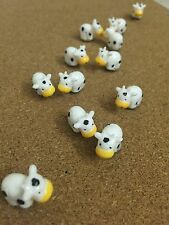 12 Decorative Thumbtacks Push Pins Cork Board Thumb Tacks Office-Cute white  Cow