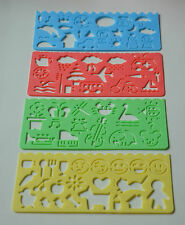 CRAFT STENCILS 4 DESIGNS CARD MAKING CHILDRENS ART PLASTIC NEW 4 pieces