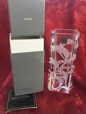 NIB FLAWLESS Exceptional HOYA Japan Art Glass Crystal VASE Heavy Etched Design