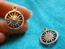 10 sun charms pendant beads Tibetan silver tibet antique wholesale craft UK