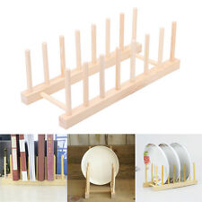 New Wooden Plate Stand Wood 7 Dish Rack Pots Cups Display Drainer Holder Kitchen