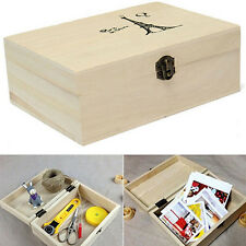 Plain Unpainted Wooden Tool Storage Box Memory Small Chest Craft Box Glitzy