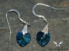 SWAROVSKI Crystal Austrian Bermuda Blue Earrings Sterling Silver Gift Wedding