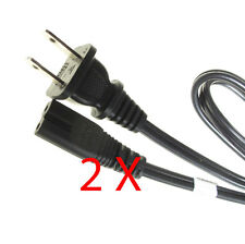 Lot of 2 AC Wall Power Cord for Laptop/Printer/TV~5ft. 2 Prong Round/Square Plug