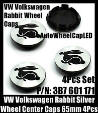 NEW~ VW Volkswagen Rabbit Chrome Silver Wheel Center Caps 65mm 3B7 601 171 4Pcs