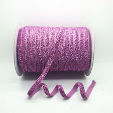 "NEW 5 Yards 3/8"" 10mm Purple Sparkle Glitter Velvet Ribbons Headband Clips Bow #"